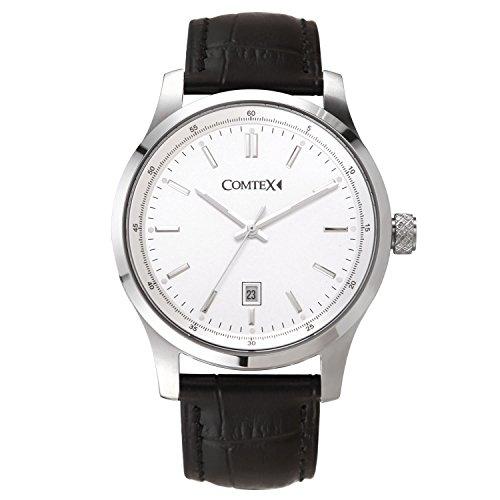 Comtex Herren Armbanduhr Klassische Quarz Analog mit weisses Zifferblatt Schwarz Leder Uhren