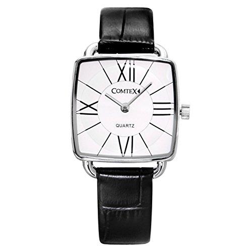 Comtex Weiss Quadratisch Zifferblatt Analog Display mit Lederband Uhr