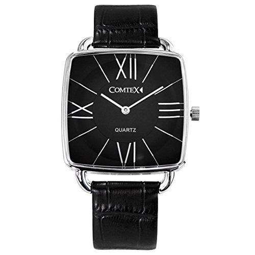 Comtex quadratisches Zifferblatt mit schwarzem Leder Einfache Uhr