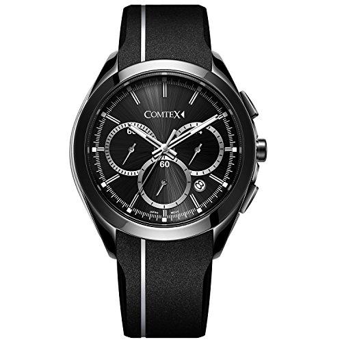 Comtex Analog Quarz mit schwarzem Silikon Band Weiss Line Sport Armbanduhr