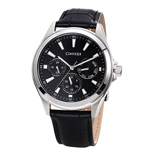 COMTEX Analog Quartz mit schwarzem Zifferblatt und schwarzem Leder Chronograph Sport Uhren