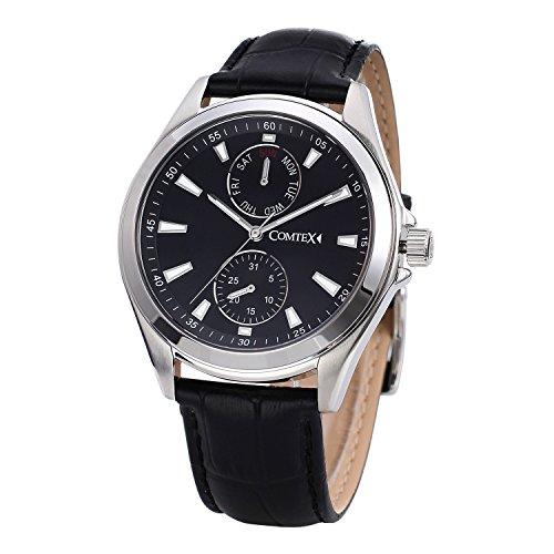 COMTEX Herren Armbanduhr mit schwarzem Zifferblatt Analog Quartz und schwarzem Leder Chronograph Sport Uhren