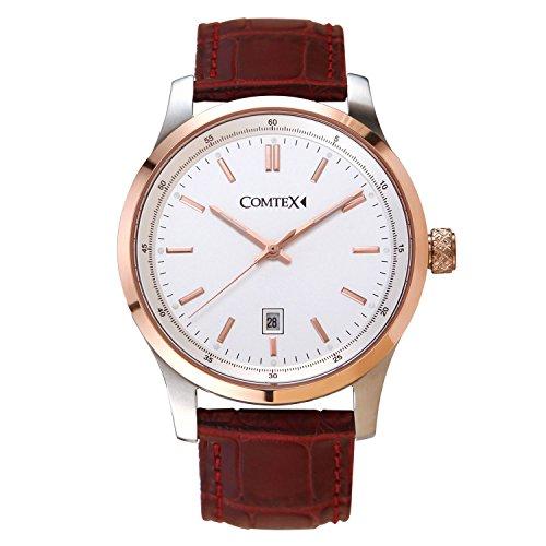 Comtex Herren Armbanduhr mit Schwarzses Leder und rosegold Gehaeuse Uhren