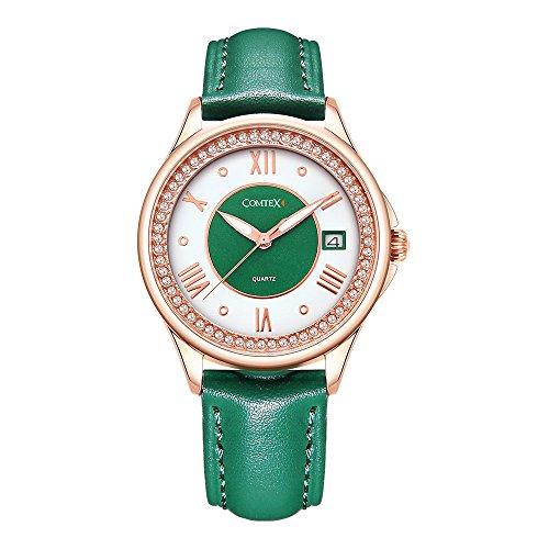 Comtex Maedchen Uhren mit Gruen Leder Armband Analog roemischen Ziffern wasserabweisend Kalender