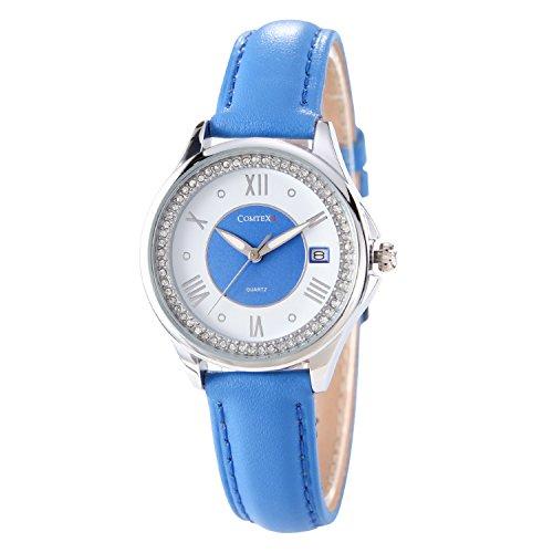 Comtex Modische Maedchen Uhren roemischen Ziffern Wasser resistent Kalender blau Lederband