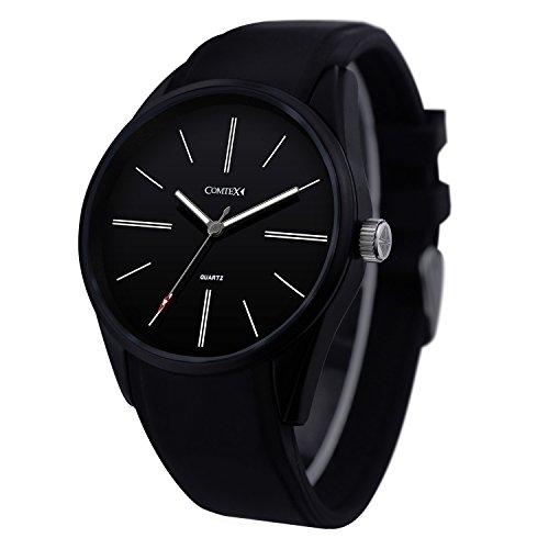 Comtex Herren Quarz Uhr mit schwarzem Zifferblatt Analog Anzeige und Silikon Band einfach Sport Armbanduhr