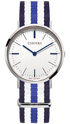 Comtex Damen Quarzuhr Classic Lady Einfache Armbanduhr mit Textilband