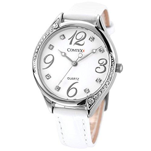 Comtex Damen Silber Ton mit Weiss Zifferblatt und weiss Leder Band Gurt wasserabweisend Armbanduhr