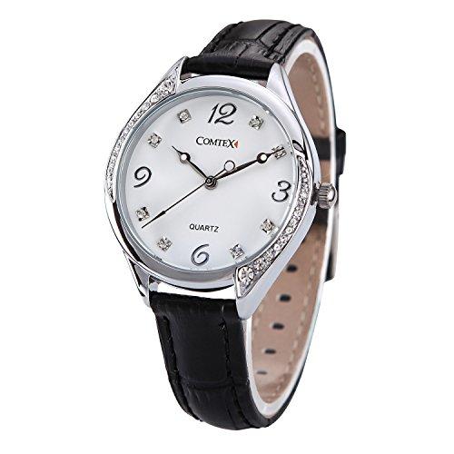 Comtex Damen Uhren mit grossen weiss Ziffernblatt schwarz Lederband Maedchen Uhren