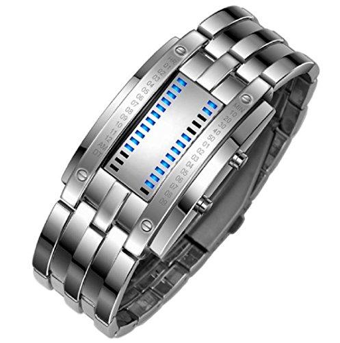 Amcool Herren Armbanduhr Datum Digital LED Armband Sport Stainless Steel Uhr Silber