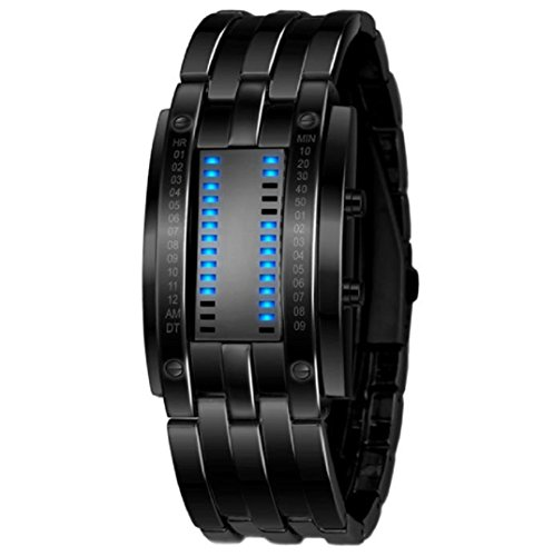Amcool Datum Digital LED Armband Sport Stainless Steel Uhr Schwarz