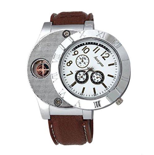 Amcool Quarz Uhr Armbanduhr Luxus Multifunktions Militaer USB Zigarette Zigarre Flammenlos Feuerzeug Braun