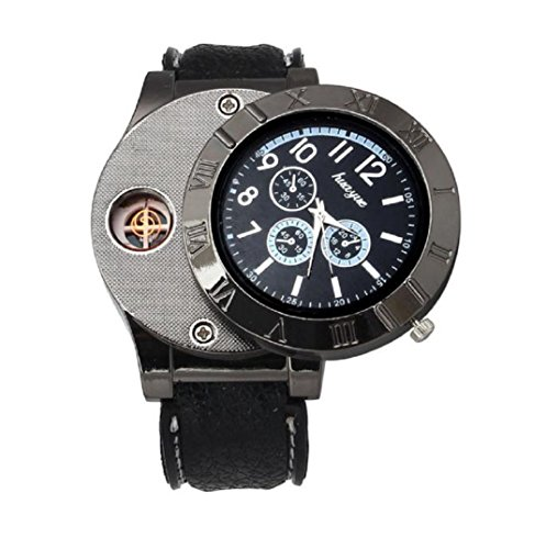 Amcool Quarz Uhr Armbanduhr Luxus Multifunktions Militaer USB Zigarette Zigarre Flammenlos Feuerzeug Schwarz