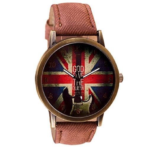 Amcool Retro Uhr Armbanduhr PU Leder Quartz Uhrenarmbanduhr Armband Braun