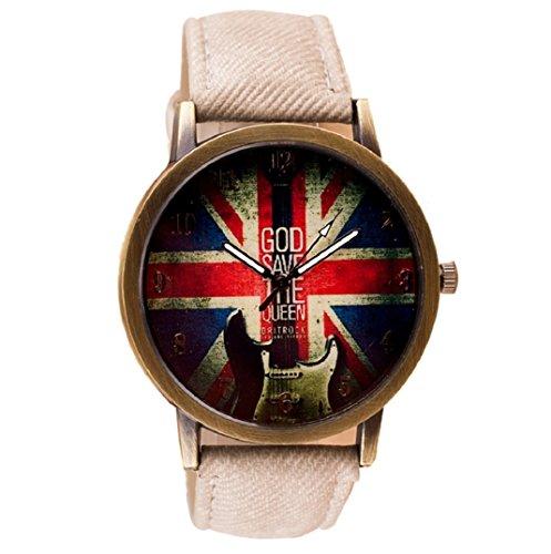 Amcool Retro Uhr Armbanduhr PU Leder Quartz Uhrenarmbanduhr Armband Weiss