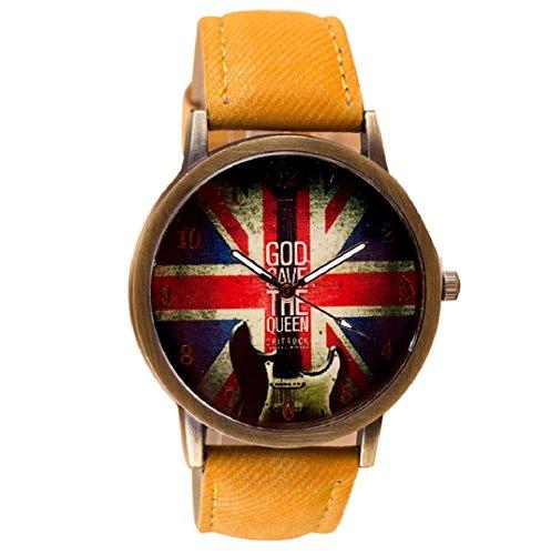 Amcool Retro Uhr Armbanduhr PU Leder Quartz Uhrenarmbanduhr Armband Gelb