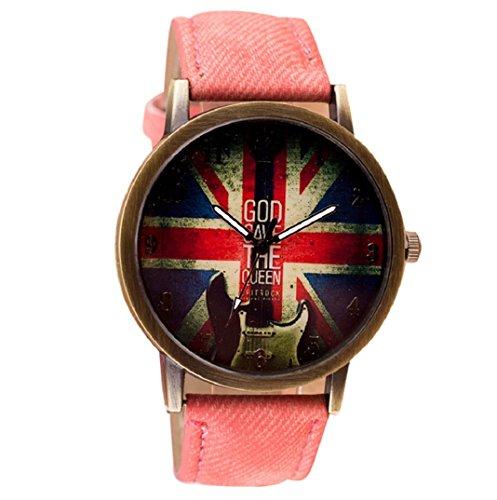 Amcool Retro Uhr Armbanduhr PU Leder Quartz Uhrenarmbanduhr Armband Rosa