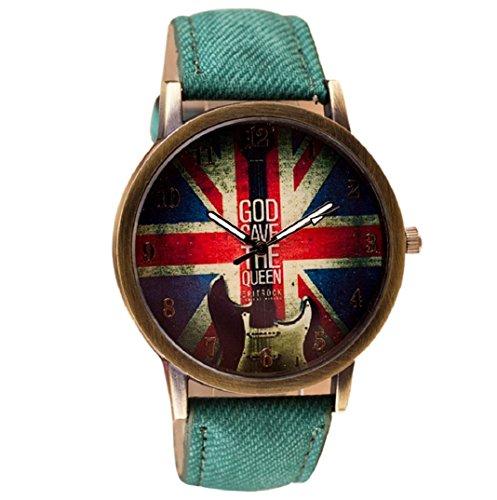 Amcool Retro Uhr Armbanduhr PU Leder Quartz Uhrenarmbanduhr Armband Gruen