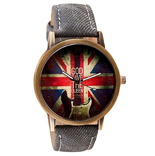 Amcool Retro Uhr Armbanduhr PU Leder Quartz Uhrenarmbanduhr Armband Grau