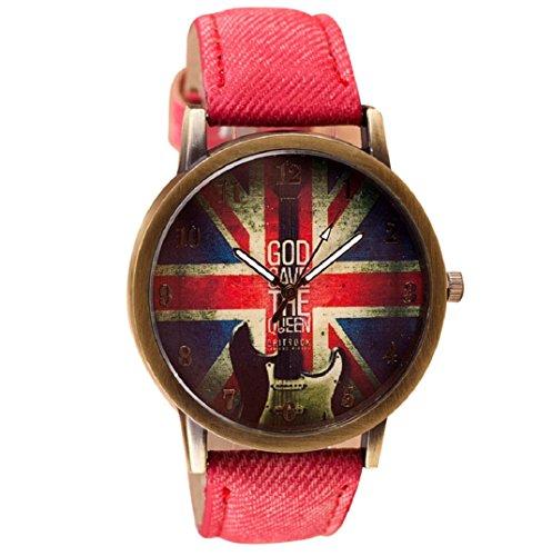Amcool Retro Uhr Armbanduhr PU Leder Quartz Uhrenarmbanduhr Armband Rot