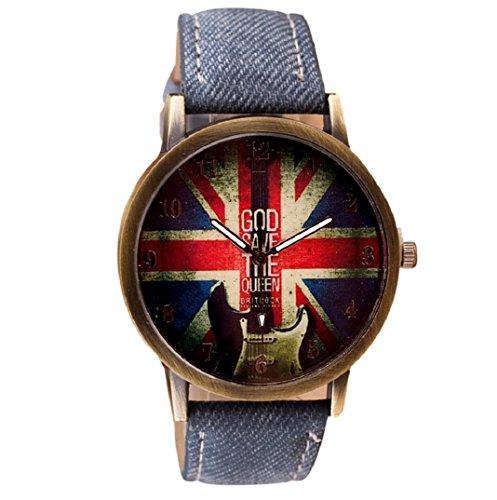 Amcool Retro Uhr Armbanduhr PU Leder Quartz Uhrenarmbanduhr Armband Dunkelblau