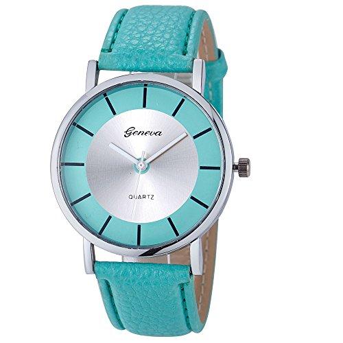 Amcool Geneva Uhr Damen Armbanduhr Cool Retro PU Leder Quartz Uhrenarmbanduhr Armband Minzgruen