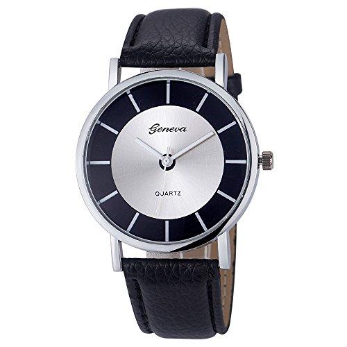 Amcool Geneva Uhr Damen Armbanduhr Cool Retro PU Leder Quartz Uhrenarmbanduhr Armband Schwarz