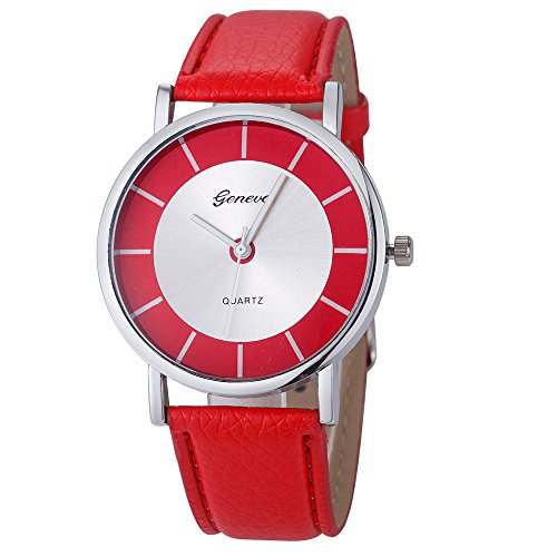 Amcool Geneva Uhr Damen Armbanduhr Cool Retro PU Leder Quartz Uhrenarmbanduhr Armband Rot