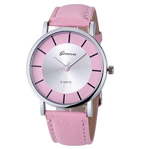 Amcool Geneva Uhr Damen Armbanduhr Cool Retro PU Leder Quartz Uhrenarmbanduhr Armband Rosa