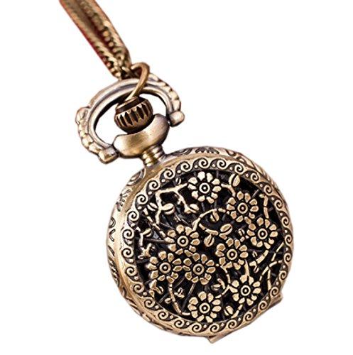Amcool Halskette Uhr Retro Bronze Quarz Anhaenger Kette Uhren Taschenuhr B