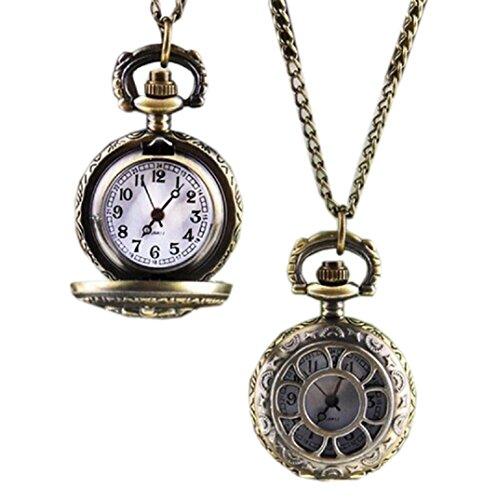 Amcool Halskette Uhr Retro Bronze Quarz Anhaenger Kette Uhren Taschenuhr D