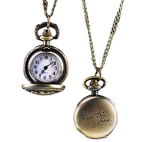 Amcool Halskette Uhr Retro Bronze Quarz Anhaenger Kette Uhren Taschenuhr E