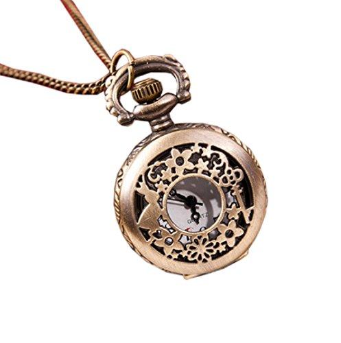 Amcool Halskette Uhr Retro Bronze Quarz Anhaenger Kette Uhren Taschenuhr F