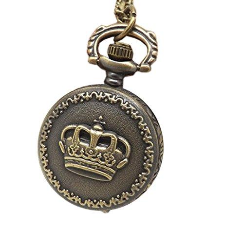 Amcool Halskette Uhr Retro Bronze Quarz Anhaenger Kette Uhren Taschenuhr C
