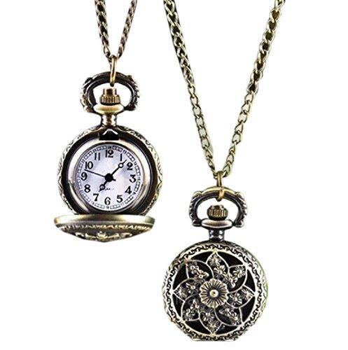 Amcool Halskette Uhr Retro Bronze Quarz Anhaenger Kette Uhren Taschenuhr A