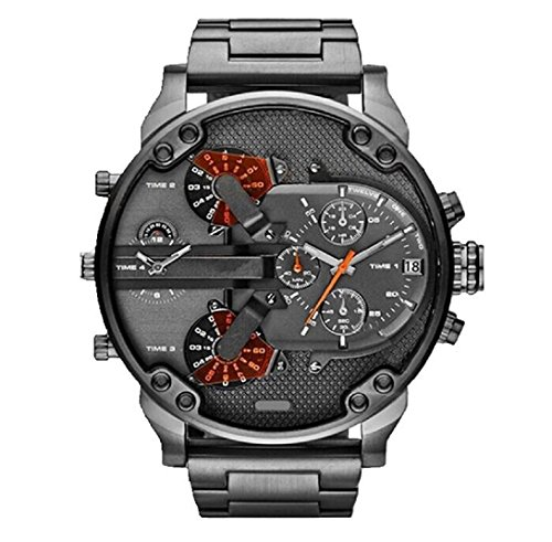 Amcool Herren Armbanduhr Luxus Multifunktions Uhr Edelstahl Sport Analog Uhr