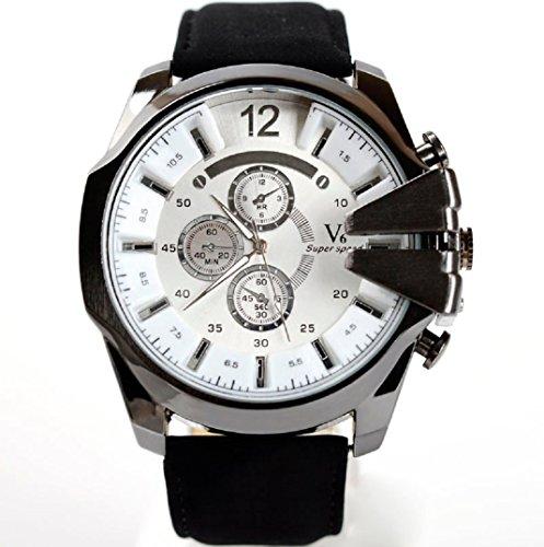 Amcool Herren Uhr Luxus PU Lederband Sport Quarz Wrist Watch D