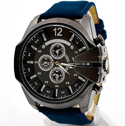 Amcool Herren Uhr Luxus PU Lederband Sport Quarz Wrist Watch E