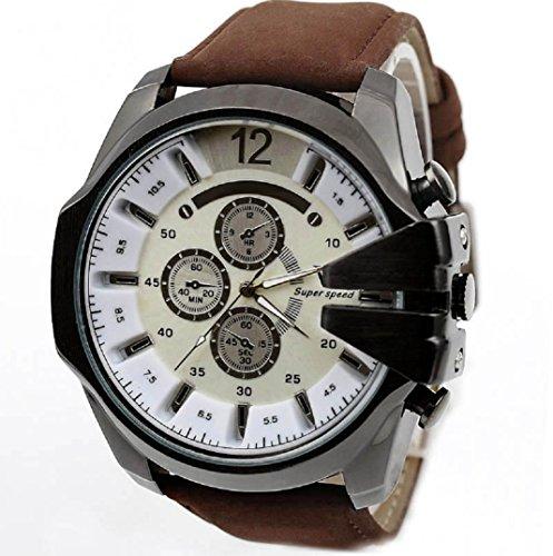 Amcool Herren Uhr Luxus PU Lederband Sport Quarz Wrist Watch B