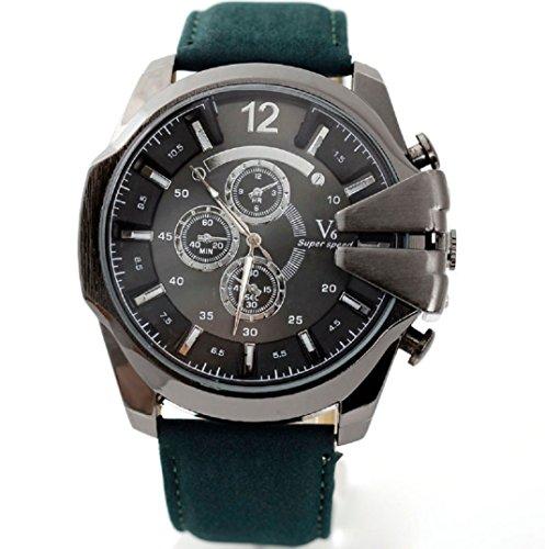 Amcool Herren Uhr Luxus PU Lederband Sport Quarz Wrist Watch G
