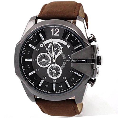 Amcool Herren Uhr Luxus PU Lederband Sport Quarz Wrist Watch A