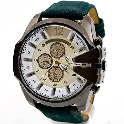 Amcool Herren Uhr Luxus PU Lederband Sport Quarz Wrist Watch H