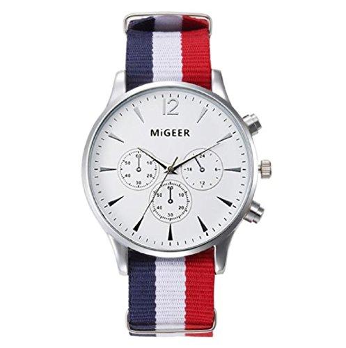 Amcool Herren Uhr Luxus Canvas Uhrenarmband New Arrival Analog Armbanduhr Weiss
