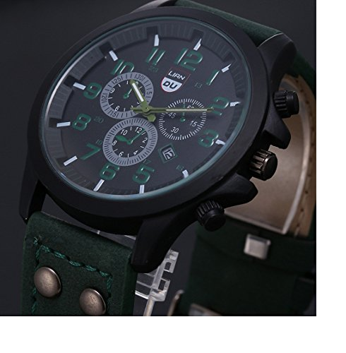 Amcool Luxus Jahrgang Klassisch Wasserdicht Datum PU Lederband Sport Quarz Armee Uhr Gruen