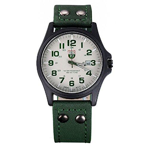Amcool Herren Uhr Luxus Jahrgang Klassisch Wasserdicht Datum PU Lederband Armee Uhr Gruen