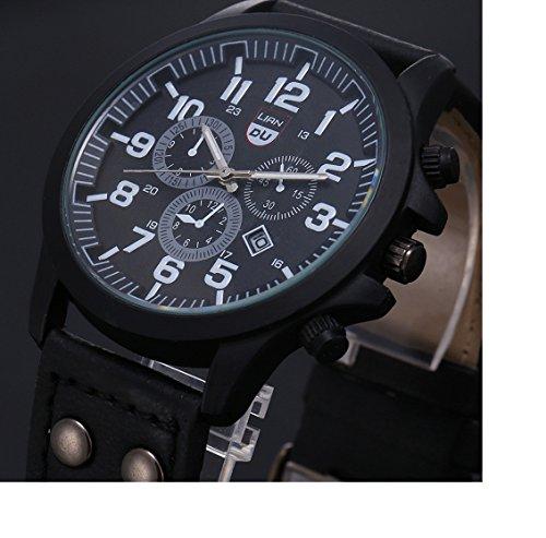Amcool Luxus Jahrgang Klassisch Wasserdicht Datum PU Lederband Sport Quarz Armee Uhr schwarz