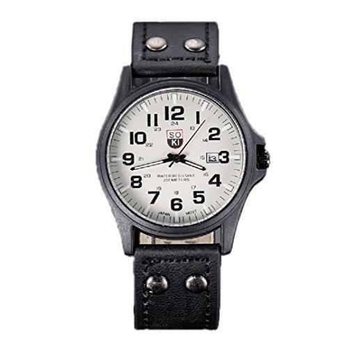 Amcool Herren Uhr Luxus Jahrgang Klassisch Wasserdicht Datum PU Lederband Armee Uhr Schwarz
