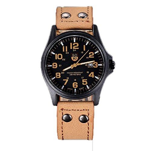 Amcool Herren Uhr Luxus Jahrgang Klassisch Wasserdicht Datum PU Lederband Armee Uhr Khaki