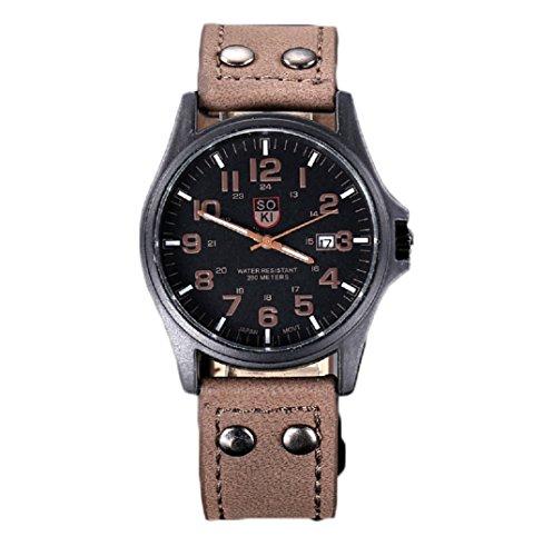 Amcool Herren Uhr Luxus Jahrgang Klassisch Wasserdicht Datum PU Lederband Armee Uhr Braun