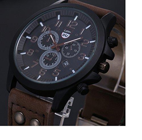 Amcool Herren Uhr Luxus Jahrgang Klassisch Wasserdicht Datum PU Lederband Sport Quarz Armee Uhr Kaffee